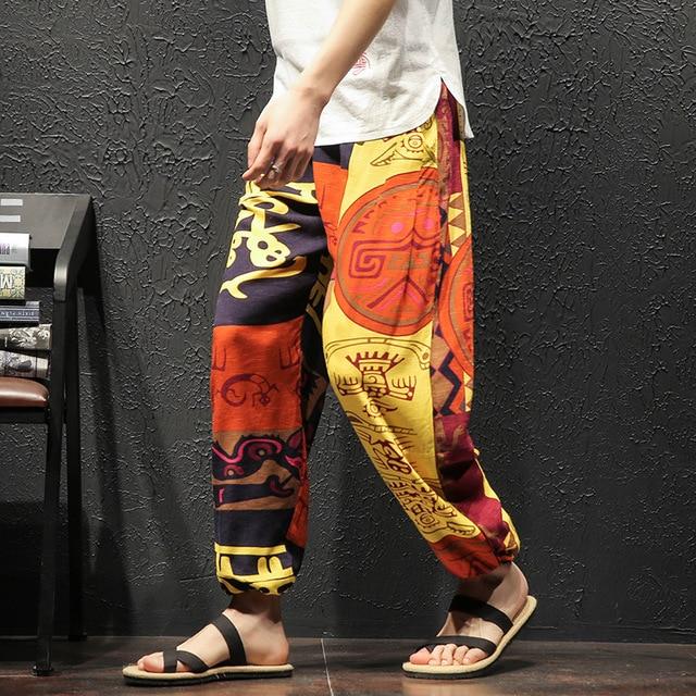 Men Harem Pants Vintage Hip Hop Baggy Wide Leg Pants Streetwear   Elastic Waist Printed Boho Trousers Male Cross Pants GM103 73