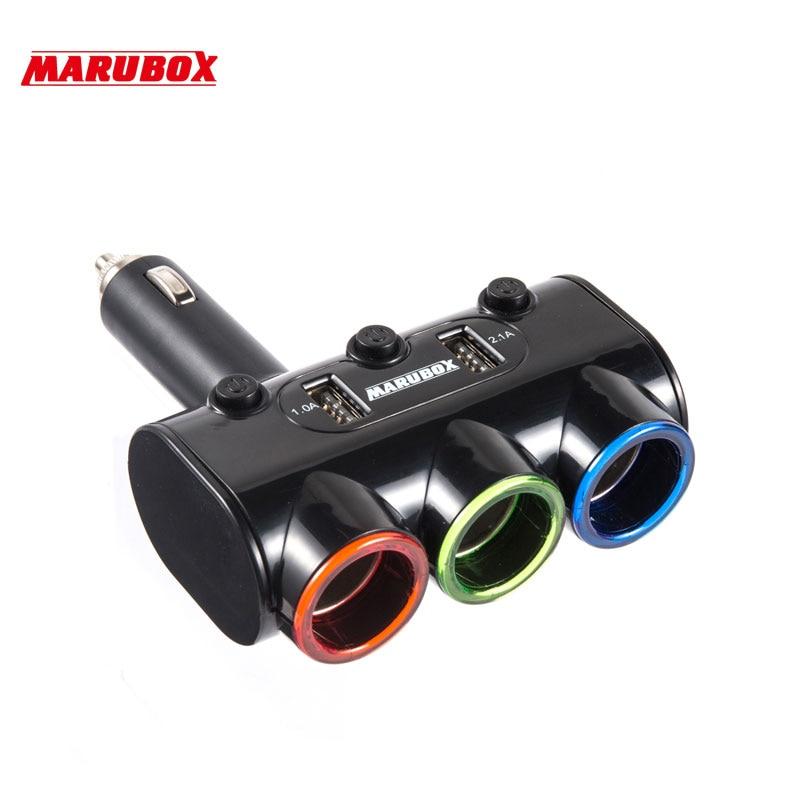 MARUBOX M10 12 v-24 v Haute Qualité 3 Façons de Voiture Auto Cigarette Prise allume Splitter Puissance Adaptateur 3.1A 20 W + Double USB chargeur