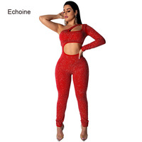 Echoine Women jumpsuit One Shoulder Long Sleeve Soild Color Playsuit Hollow Out Rhinestone Diamonds Jumpsuits Skinny Clubwear