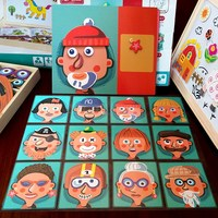 Educational wooden toy cartoon Character facial feature magnetic puzzle board match game kids toy birthday Christmas gift 1pc