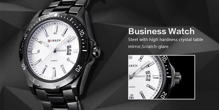 Mens Watches Top Luxury Brand CURREN 18 Men Full Steel Watches Quartz Watch Analog Waterproof Sports Army Military WristWatch 9