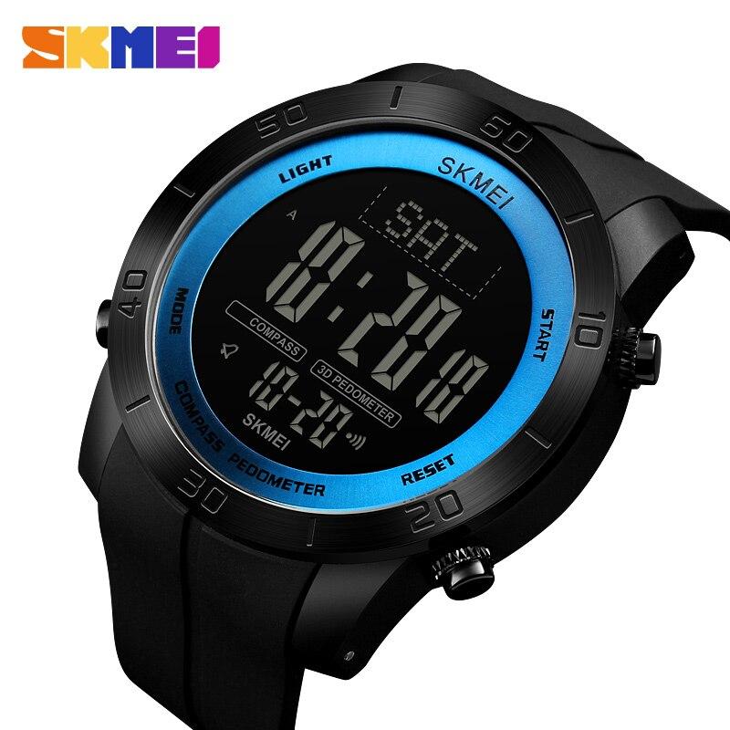 SKMEI Брендовые мужские часы, роскошные цифровые наручные часы, подсчет калорий и компас, электронный мужской браслет, секундомер, будильник д