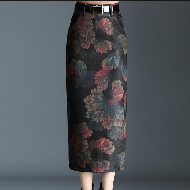S-4XL!Autumn Winter High Waist Warm Long wool woolen pencil skirt image