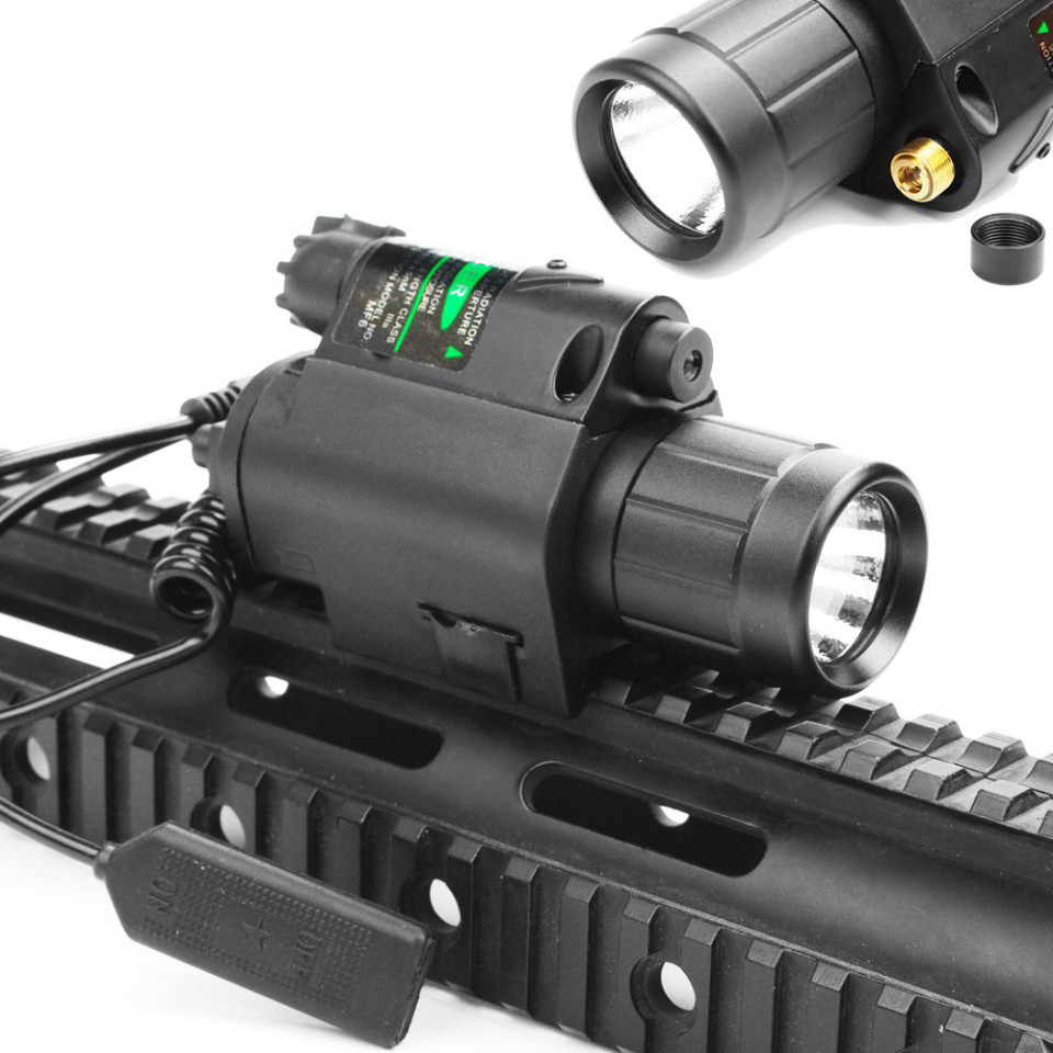 2 in 1 Combo Tactical Pulsed Green Laser Sight with 200LM LED Q5 Flashlight for Hunting Rifle and Pistol Glock 17   19 22 high quality 2 in 1 tactical insight red laser cree q5 led 300 lumen flashlight sight combo for pistol gun 2x3v cr123a