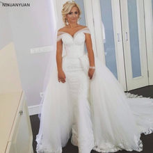 Mermaid Detachable Skirt Tulle Lace Sexy Romantic Long Bridal Wedding Dresses 2018 New Fashion Wedding Gown Custom Made(China)