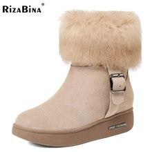 Rizabina Для женщин ботильоны из натуральной кожи на танкетке Ботинки Для женщин Обувь на теплом меху Пряжка Ботинки зимняя обувь Botas Женская обувь размеры 34–40