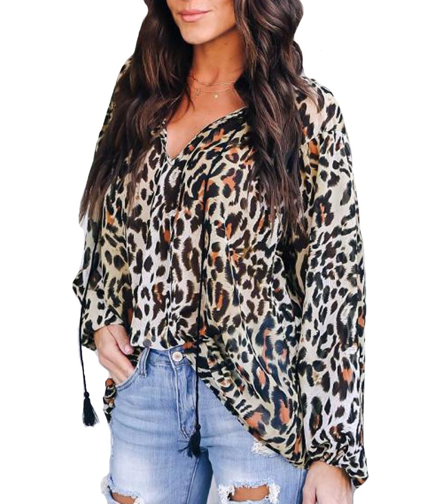 Hitmebox 2019 Spring Summer Newly V-neck Leopard Casual Loose Blouses Fashion Female Baggy Long Sleeve Chiffon Top Shirts