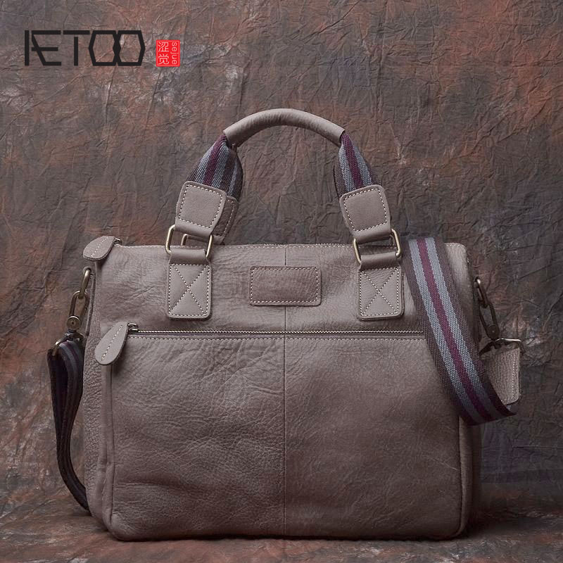 AETOO Original handmade leather men bag single shoulder bag A4 business casual first layer scrub leather bag retro style bag aetoo spring and summer new leather handmade handmade first layer of planted tanned leather retro bag backpack bag