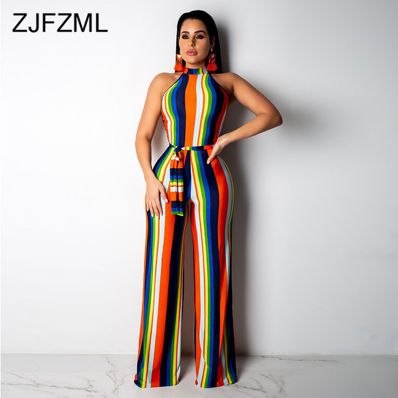 Geometric Print Sexy   Jumpsuits   For Women Off The Shoulder Sleeveless Wide Leg Overalls Summer Backless Sashes Bodycon Rompers