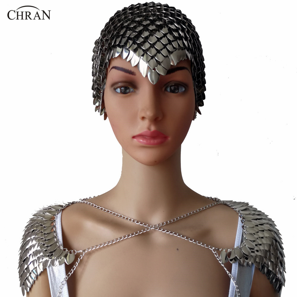 Chran New Women Punk Chainmail Layer Metal Head Chain Headdress Jewelry Forehead Headband Shoulder Necklace Body Jewelry CRS202