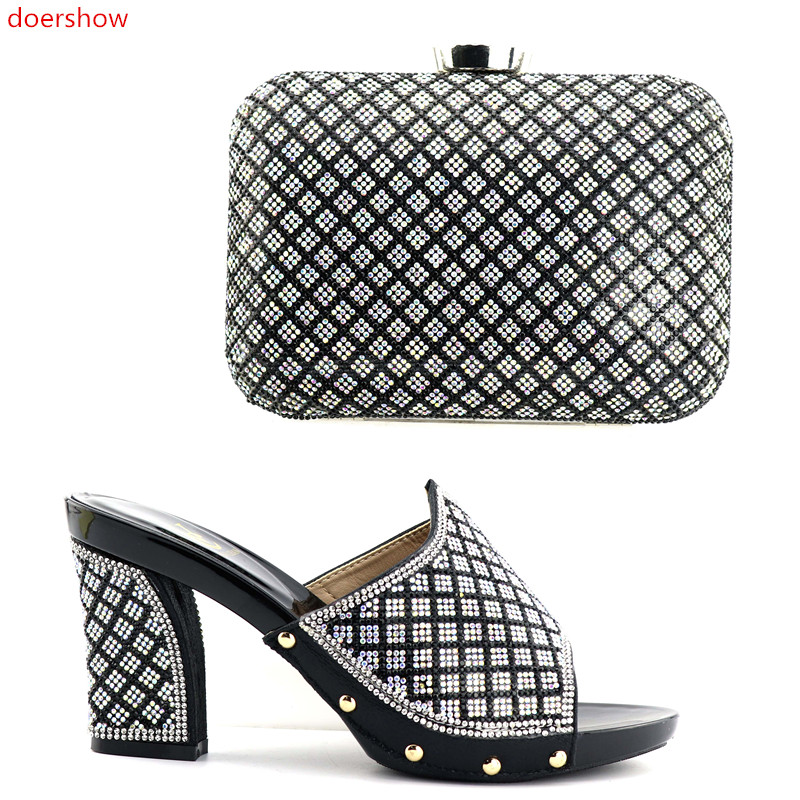 doershow Fashion African shoe and bag set for party Italian shoes with matching bag new design lady matching shoe and bag SNJ1-1 doershow italian matching shoes and bag set african wedding shoe and bag set italy shoe and bag set summer women wi1 8
