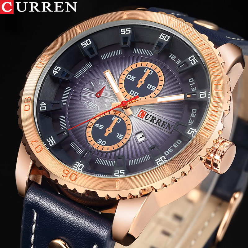 2018 NEW Luxury Brand CURREN Men Sport Watches Men's Quartz Clock Man Army Military Leather Wrist Watch Relogio Masculino