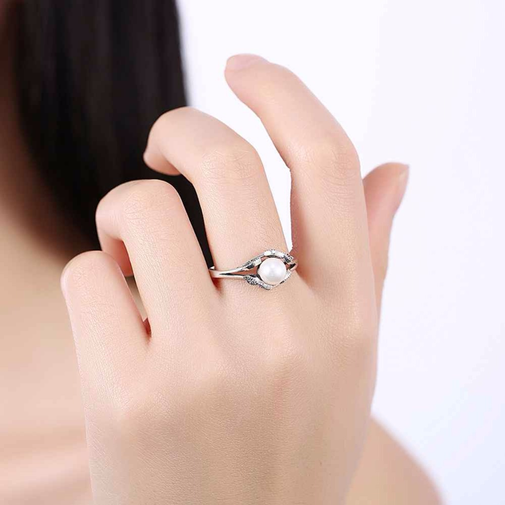 925 Sterling Silver Rings Simulated Pearl Wedding Jewelry Fashion ...
