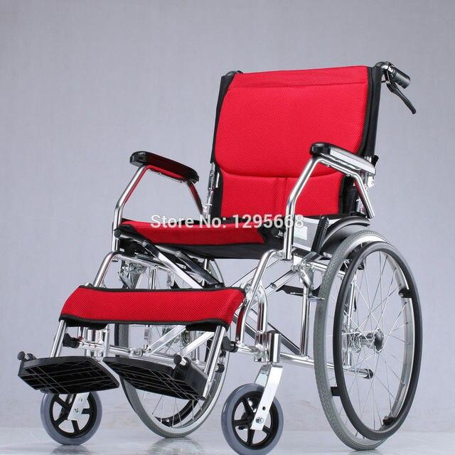 Откидной спинкой портативный инвалидной коляске Алюминиевого сплава легкий синий с голубой/желтый/красный инвалидная коляска
