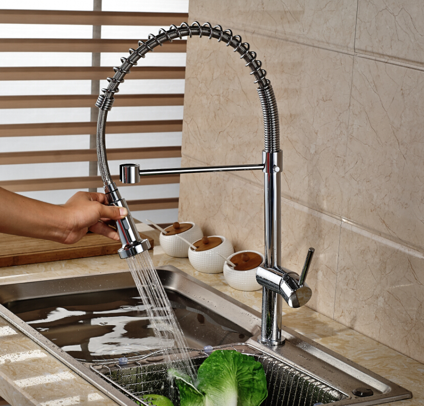 Polished Chrome Brass Kitchen Faucet Spring Vanity Sink Mixer Tap Single Handle Hole Hot and Cold Water