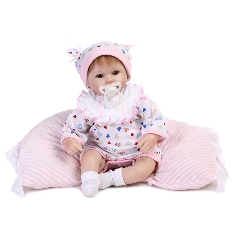 Nicery 16-18inch 40-45cm Bebe Doll Reborn Soft Silicone Boy Girl Toy Reborn Baby Doll Gift for Child Pink White Pillow bjd Doll nicery 18inch 45cm reborn baby doll magnetic mouth soft silicone lifelike girl toy gift for children christmas pink hat close