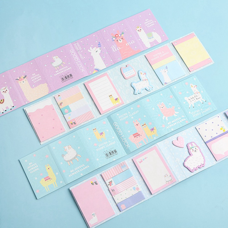 Lovely Cute Cartoon Alpaca Party 6 Folding Memo Pad N Times Sticky Notes Memo Notepad Bookmark Gift Stationery