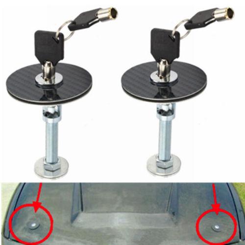 Black Hood Pins,Universal Carbon Fiber Racing Car Hood Pin Engine Bonnet Latch Lock Kit Refitting