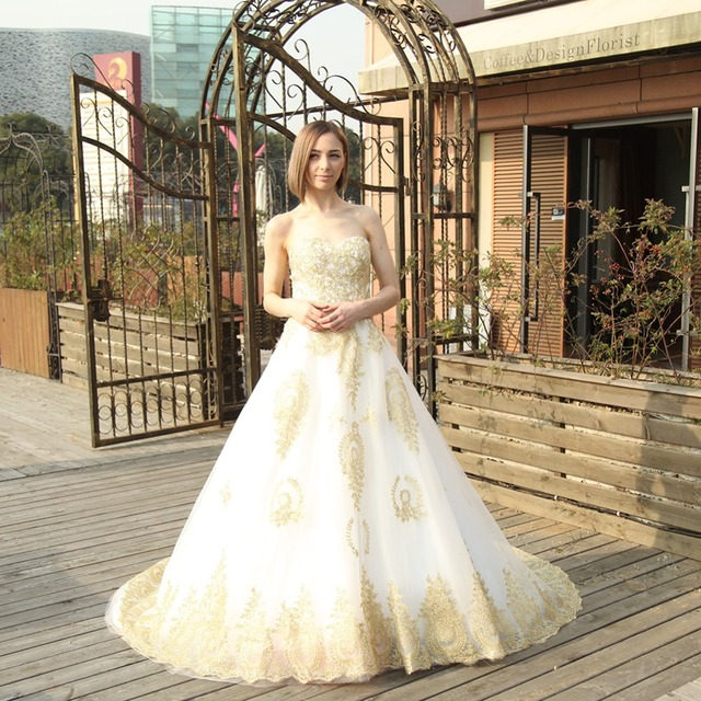 Wowbridal A Line Wedding Dress Embroidery Gold With White Sweetheart