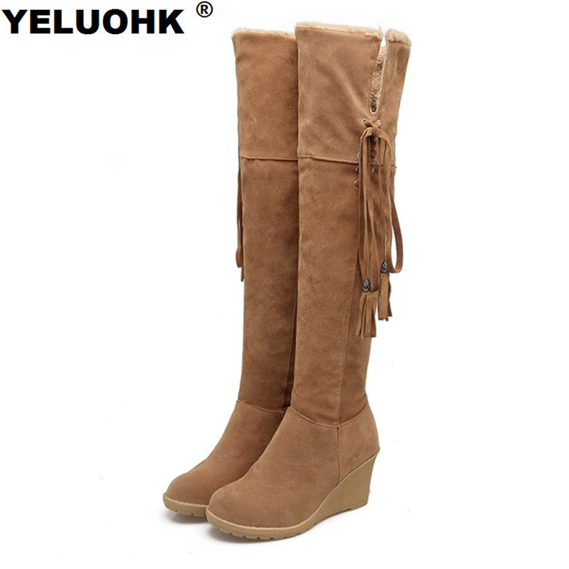 Large Size Winter Shoes Women Boots Sexy Thigh High Boots Women Wedge Shoes Fashion Over Thee Knee Boots Ladies Shoes ppnu woman winter nubuck genuine leather over the knee snow boots women fashion womens suede thigh high boots ladies shoes flats