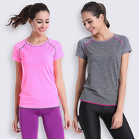 New Female Yoga Gym Workout Tees Summer Clothes T Shirt Running Shirt Bodybuilding Clothing Women Fitness