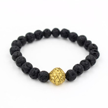Antique Silver Gold Color Lion Head Charm Bracelet Natural Lava Stone Stretch Yoga Mala Bead Bracelet Men Woman Jewelry