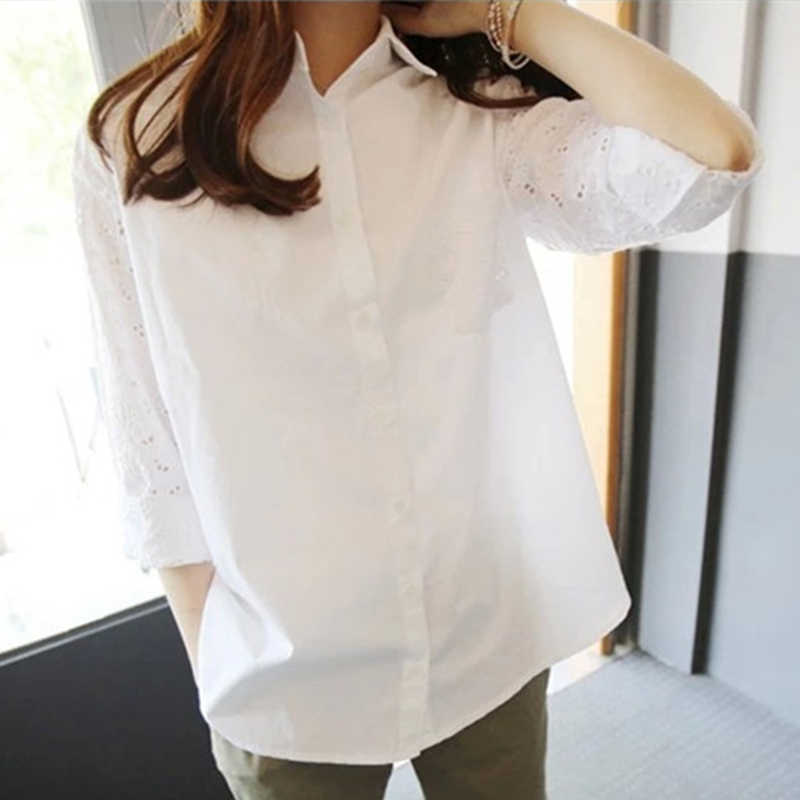 Офисные белые женские топы и блузки туники большие размеры 4xl 5xl женская блузка рабочая рубашка открытые 9/10 рукава Blusas Femininas
