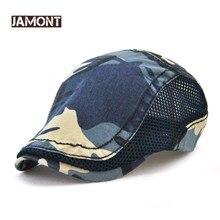 c09544dd802 Jamont Camouflage Cotton Newsboy Cap Summer Breathable Mesh Boina Men  Casual Beret