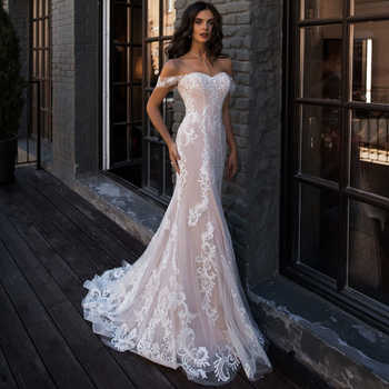 ADLN Sexy Mermaid Wedding Dress Off the Shoulder Sleeveless Applique Lace Wedding Gowns Robe De Mariage for Bride - DISCOUNT ITEM  20% OFF All Category