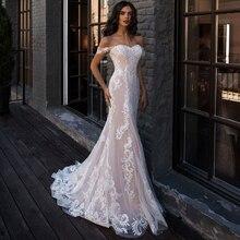 Jiayigong סקסי בת ים שמלות כלה כבוי כתף שרוולים Applique תחרת חתונת כותנות Robe De Mariage עבור הכלה