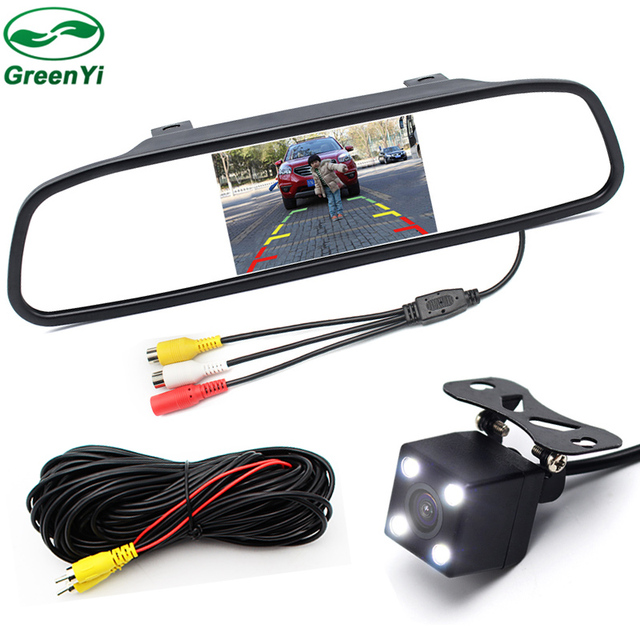 GreenYi Video Parking Assistance 4.3 inch Car Interior Mirror Monitor With CCD Rear View Camera Night Vision Glass Lens Camera