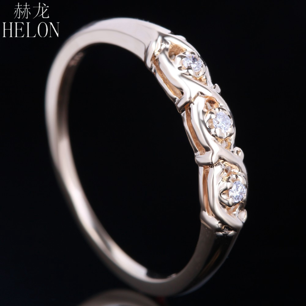 HELON Solid 10K Yellow Gold Stylish Round SI/H Full Cut Diamonds Anniversary Band Wedding Ring Women Elegant Ravishing Ring stylish daisy flowers solid color ring for women