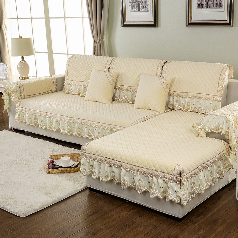 Covering A Sofa With Fabric: 100% Polyester Fabric Sofa Cover European Lace Design Slip