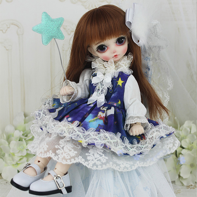 Starry Sky Unicorn Dress 1/3 1/4 1/6 Doll Clothes Dress Clothing Princess SD MSD BJD Doll Accessories Toys For Girls Kids Gifts navy wind college wind dress for 1 3 1 4 bjd sd10 msd bjd sd doll clothes accessories