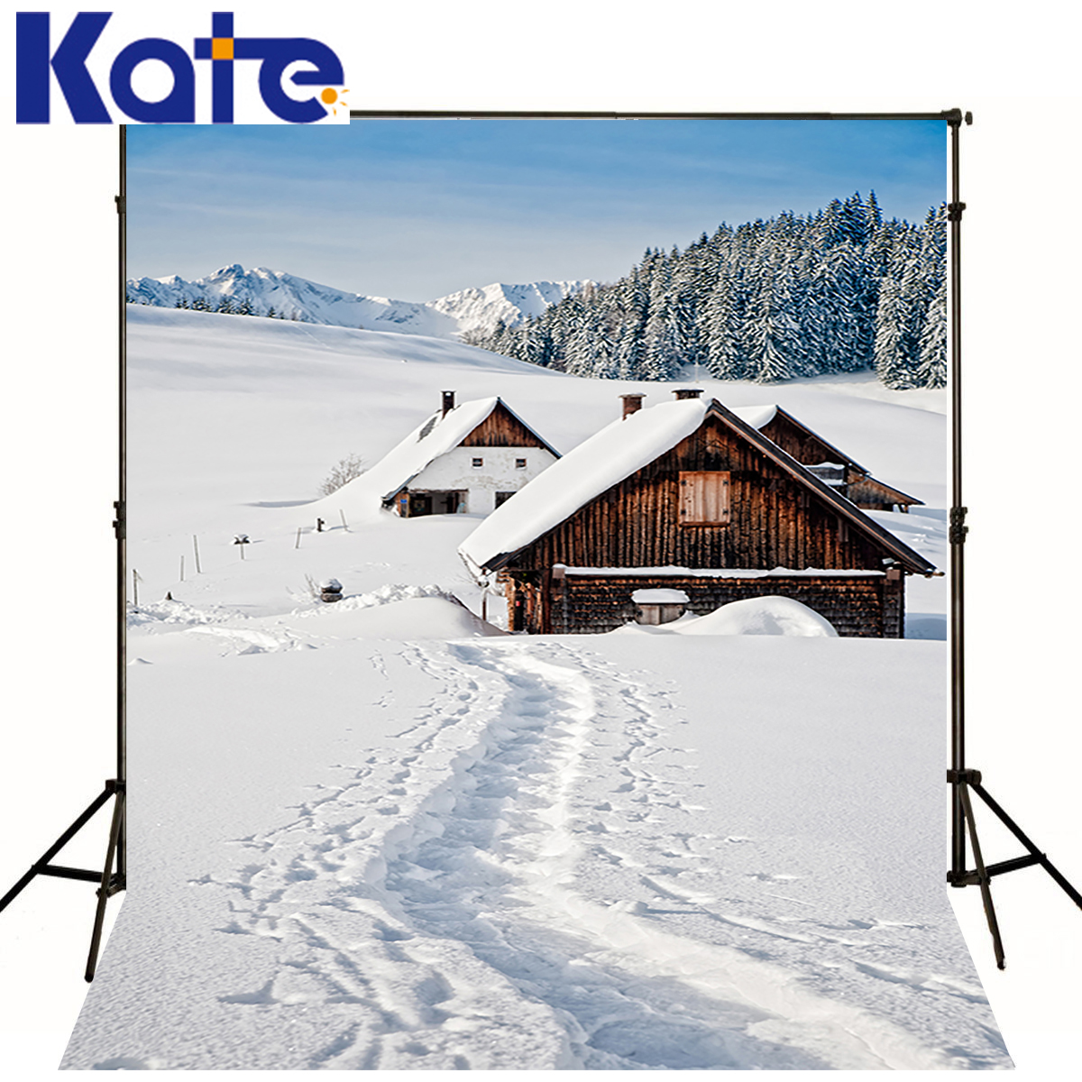 KATE Photography Backgrounds Winter Wood House Backdrops Forest Scenery Photo Shoot White Snow World Backdrops For Photo Studio