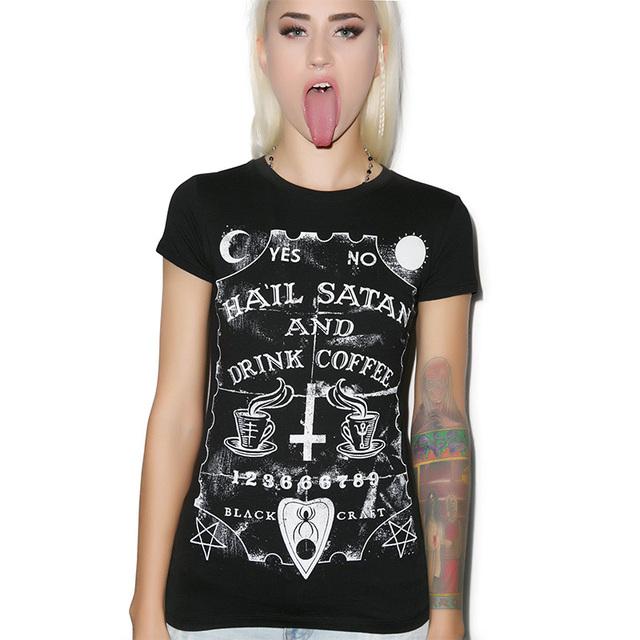 Más el tamaño xxl nuevo 2017 moda mujeres clothing punky camiseta mujeres O Cuello de la Camiseta de Algodón de Impresión de Manga Corta Casual Tops Y0410-29D