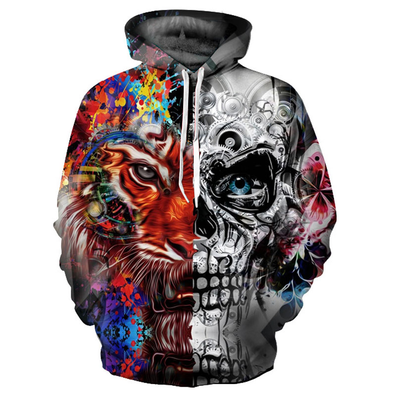 Skulls Tiger Hooded Hoodies Tracksuits