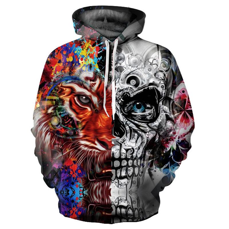 Rocksir New Fashion 3d Hoodies Men women 3d Sweatshirts Print Skulls Tiger Thin Hooded Hoodies Tracksuits Hoody Tops