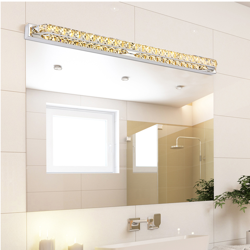 Modern led crystal bathroom mirror sconces light 23w over mirrors luxury 100cm long waterproof crystal wall light over mirror 110v 220v 26w led bathroom lamp mozeypictures Images
