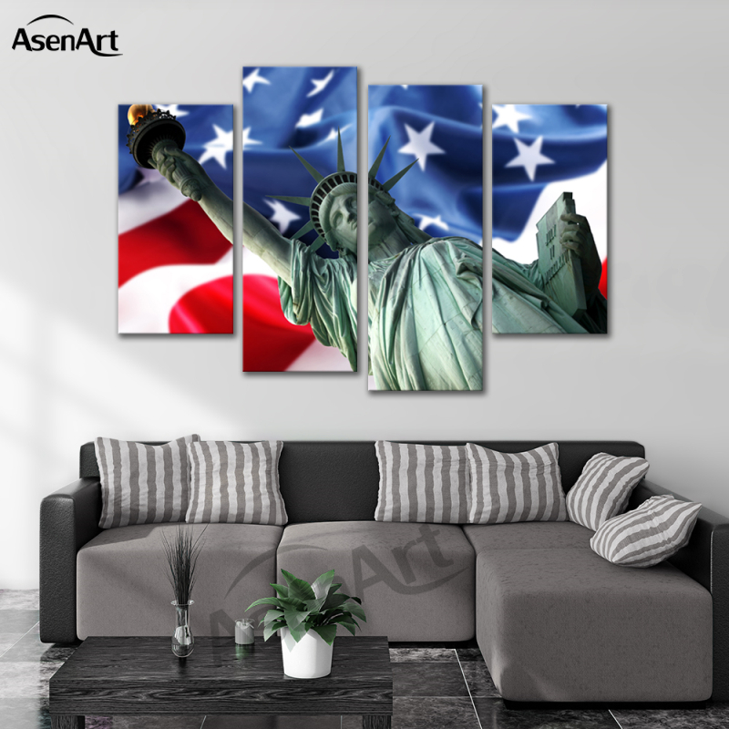 4 panel canvas art american usa flag statue of liberty painting
