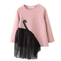 Baby Girls Tops T Shirt 2018 Spring Long Sleeve T Shirt Children Clothing O Neck Swan