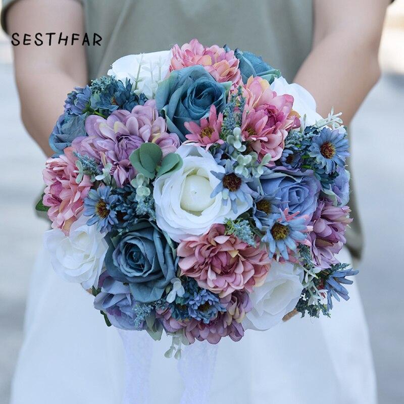 Flowers Bouquet Vintage Blue Silk Wild for Wedding Plain Color Bridal Bouquet Wedding Centerpieces Home Decoration