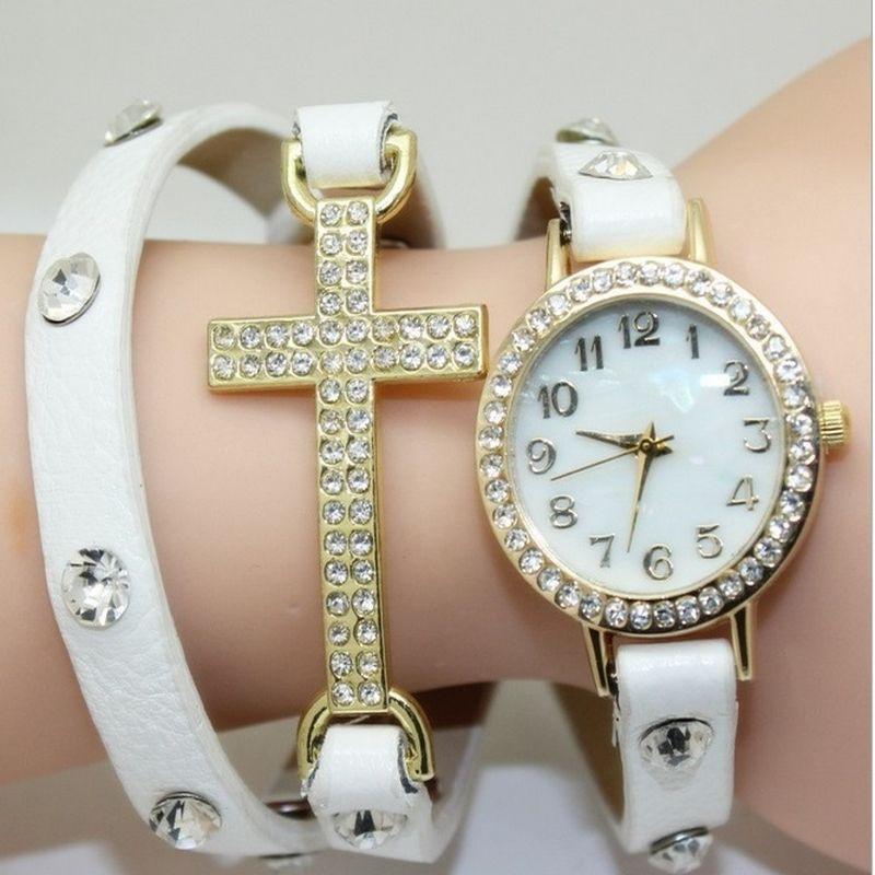 Gnova Platinum Large Bracelet Women Watch Vintage Golden Crystal Christian Cross Charm PU Leather Rhinestone Strap Wristwatch vintage rhinestone geometric pu leather watch