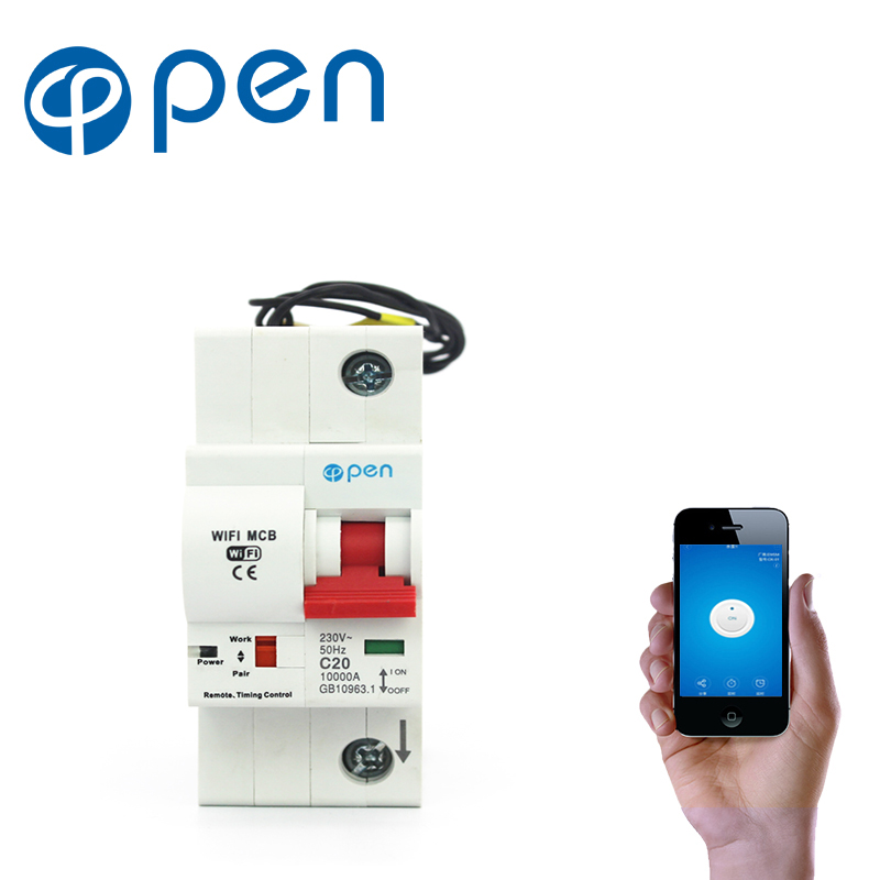 OPEN 1P 16A Remote control Wifi Circuit Breaker Smart Switch Intelligent automatic Recloser support Alexa and
