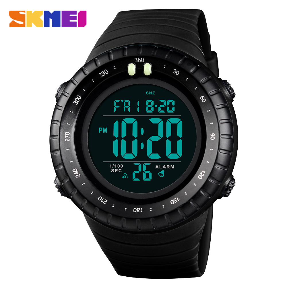 SKMEI Luxury Outdoor Military Sports Watches 50M Waterproof LED Digital Men Wristwatches Big Dial Clock Male Relogio Masculino in Digital Watches from Watches