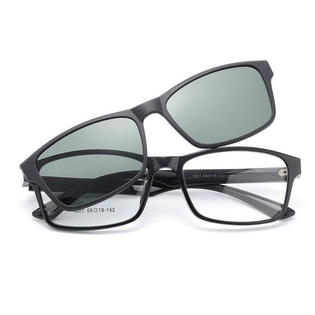 Anteojos TR90 Marco Óptico 1601 Urltra-light Gmei con Polarizado Clip Sombrillas para Hombres y Mujeres Gafas