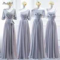 modabelle Grey Bridesmaid Dresses Vestido De Festa Longo Long Chiffon A line Women Wedding Party Dress Vestidos Mujer 2018