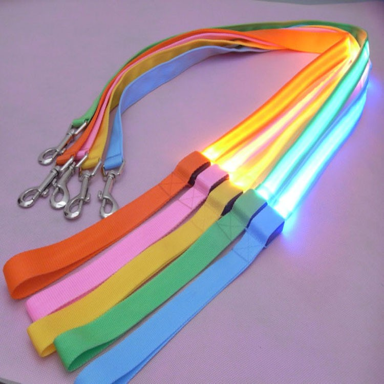 Nylon LED Light Up Dog Leash Night Safety LED Flashing Glow In Dark Dog Collar Pet Supplies Cat Drawing Small Lead LED Dog Leash