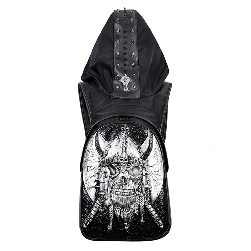 New 2019 Fashion Personality 3D Skull Leather Backpack Rivets Skull Backpack With Hood Cap Apparel Bag