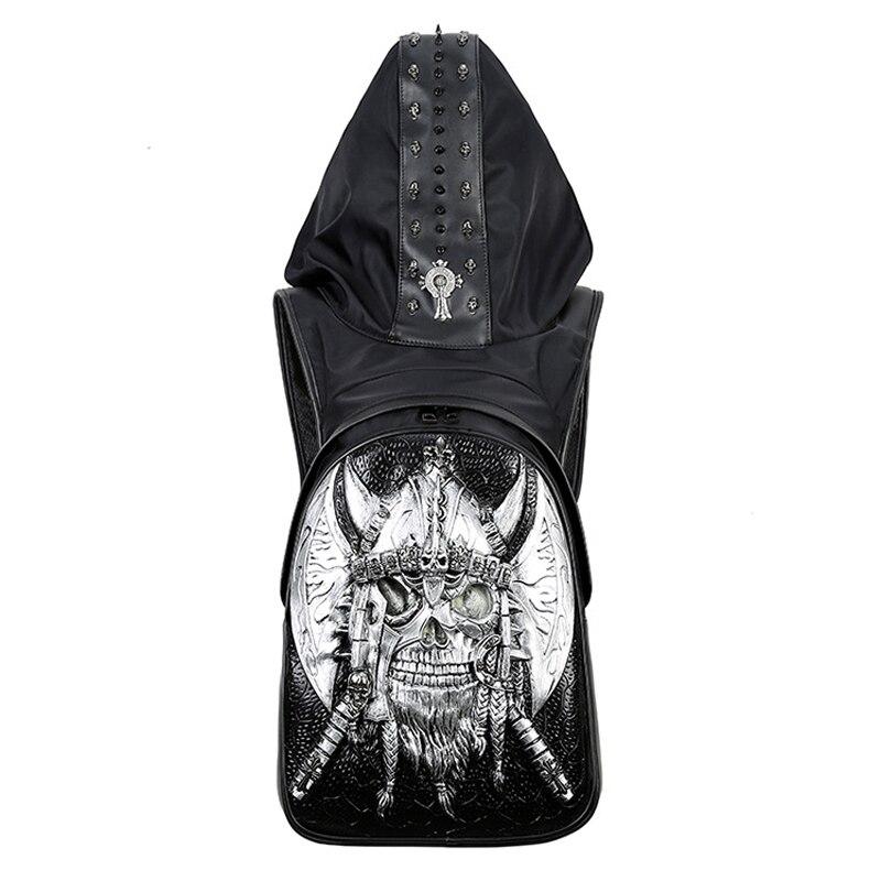 Nowy 2019 moda osobowość 3D czaszki skórzany plecak nity czaszki plecak z kapturem czapka odzieży torba krzyż torby Hiphop Man 737 w Plecaki od Bagaże i torby na  Grupa 1